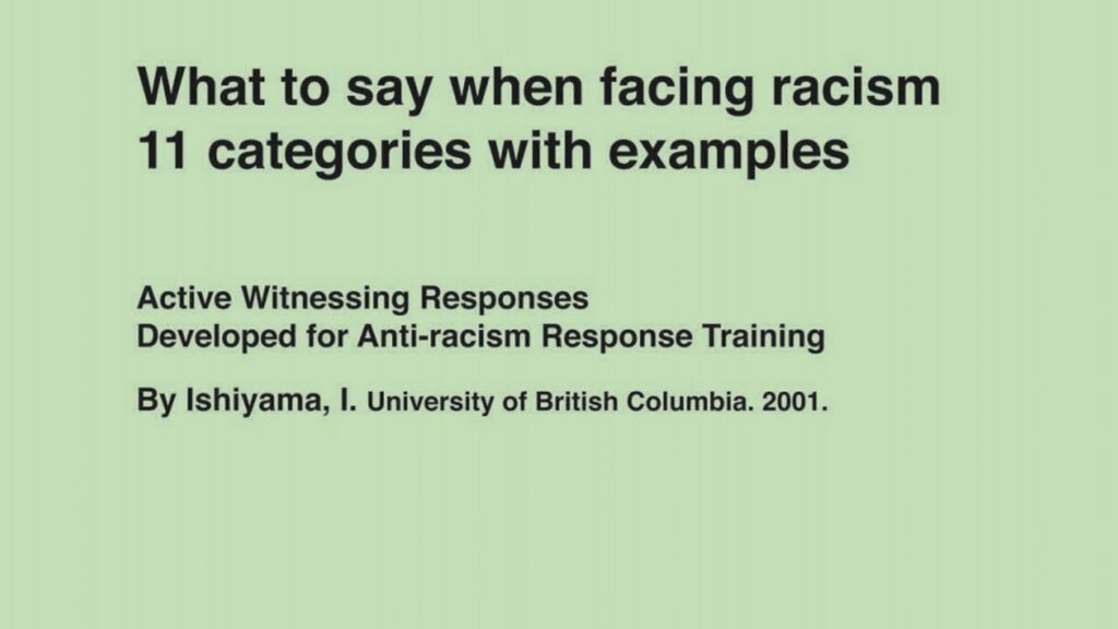 What to say when facing racism